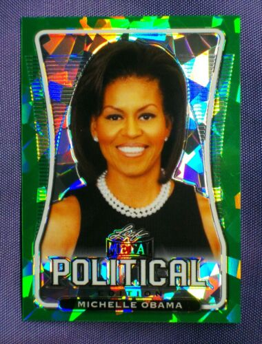 Michelle Obama #d / 4 ! GREEN CRYSTAL ice ! Politics ~ 2020 Leaf Metal Political