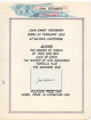 John Steinbeck - 1962 Nobel Prize in Literature - Autographed Display
