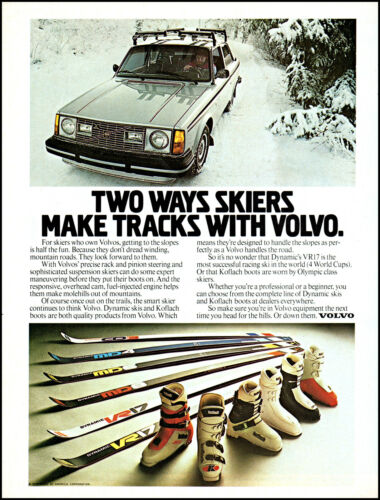 1979 Volvo Car snow skiers Volvo VR17 Skis Boots vintage photo print ad ads80
