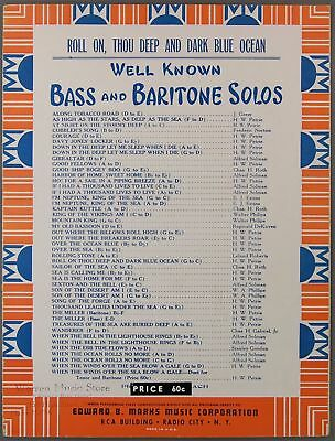 1932 ROLL ON THOU DEEP AND DARK BLUE OCEAN Dale Petrie SHEET MUSIC Bass -
