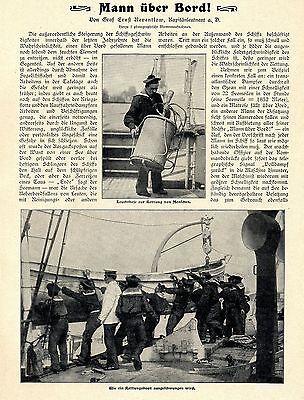 Mann über Bord * Seerettung Leuchtboje Rettungsboote werden...Text- & Bildd.1902