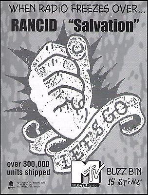 Rancid 1996 Salvation Let's Go ad 8 x 11 MTV Buzz Bin advertisement print