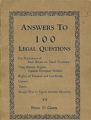 Answers to 100 Legal Questions Published February 1931