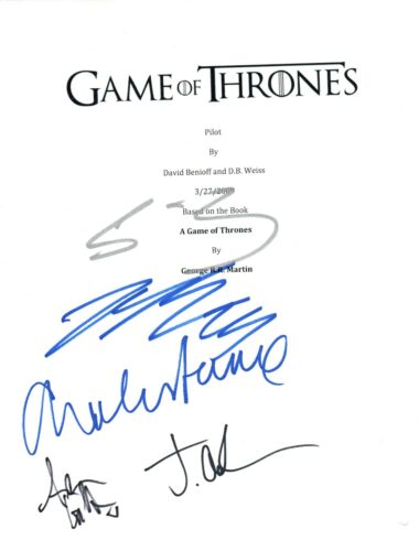 GAME OF THRONES Cast Signed Pilot Script by 5 Sean Bean Dance Gillen +2 COA