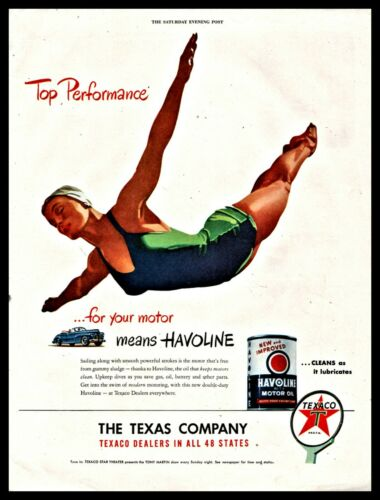 1947 DIVING Woman Swan Dive Diver Art Texaco Havoline Motor Oil Texas Company AD
