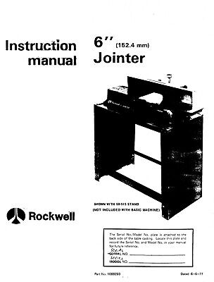 Rockwell 6-inch Jointer 37-600 Instruction Manual Instruction Maint Manual