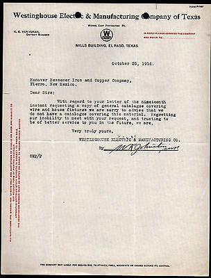 El Paso Texas 1916 Westinghouse Electric Co Vintage Letter Head Rare