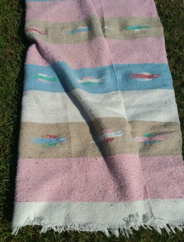 Vintage Handwoven Cotton Mexican Blanket