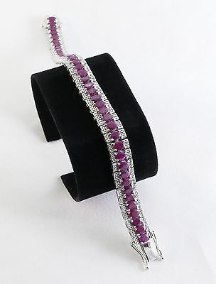 """Oval Red Indian Ruby 16.96 CTW Sterling Silver Bracelet 25 Grams Hinged 7.5"""""""