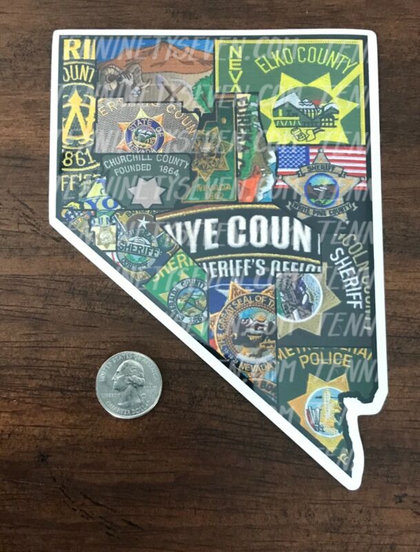 Sticker of all Nevada Sheriff's Departments patches: LVMPD, Nye, Lincoln County