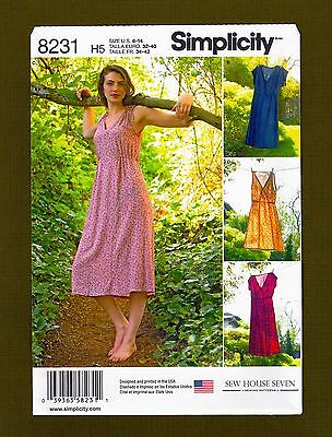 Simplicity Sewing Pattern 8231~EASY Pullover V-Neck Dress~2 Lengths (Size 6-14)