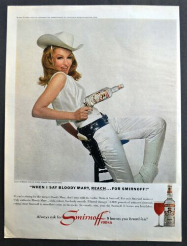 1962 Julie Newmar Actress Cowgirl Reach For Smirnoff Vodka Vtg Ad Bloody Mary
