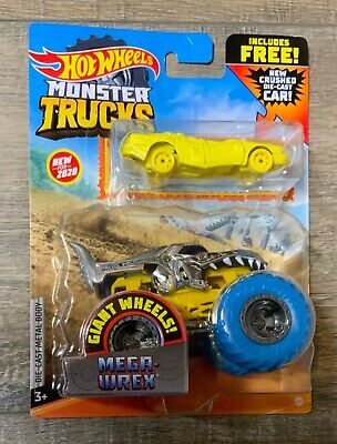 Hot Wheels Monster Truck Mega Wrex 1/64 Truck With Crushed Diecast Car