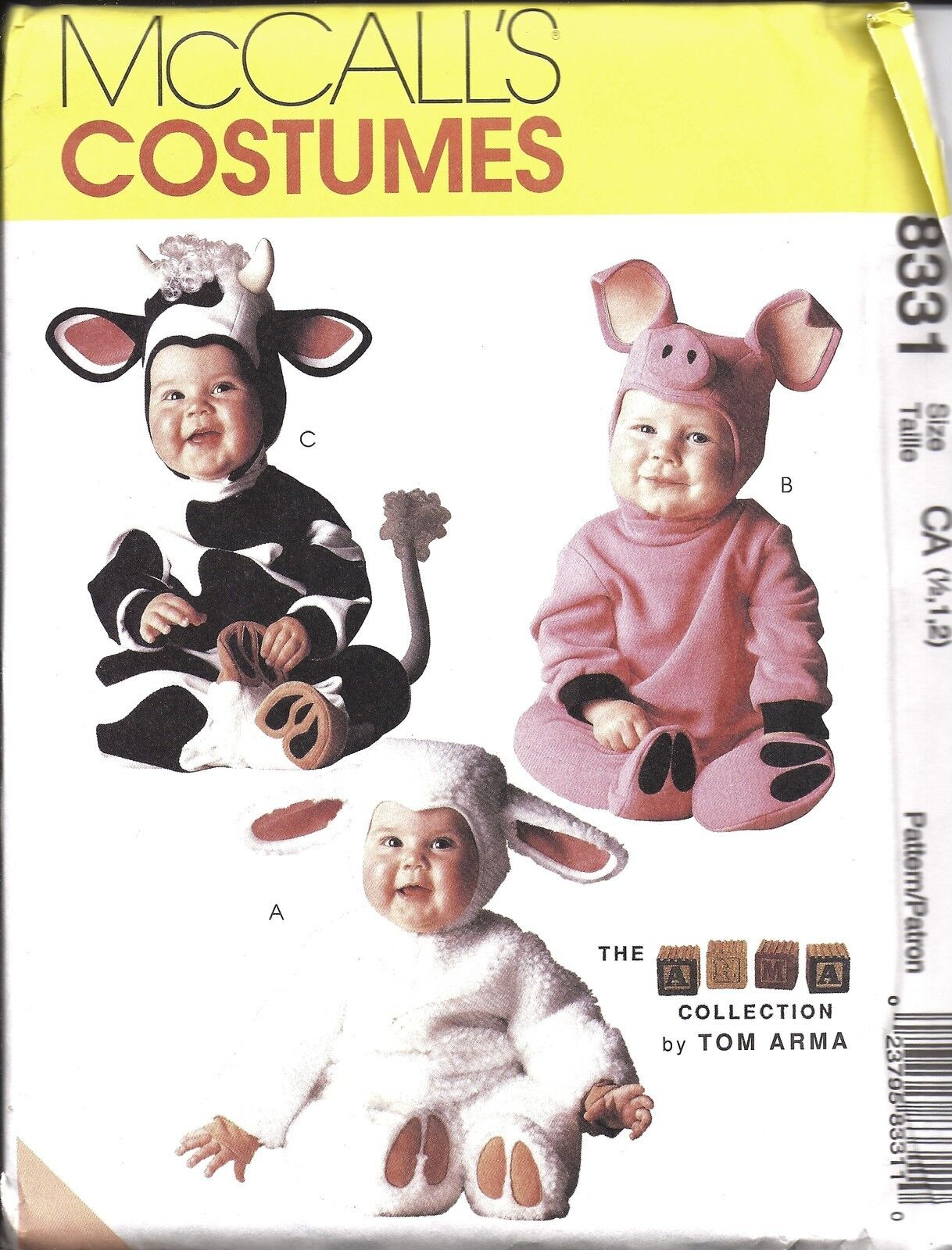 8331 Uncut Mccalls Sew Pattern Toddler Tom Arma Halloween Costume Pig Cow Lamb