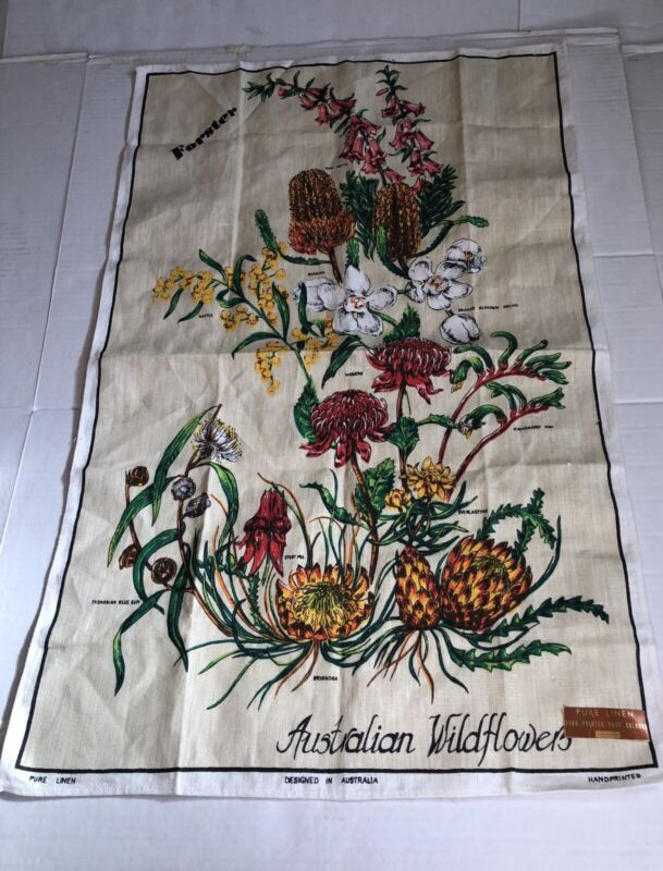 """Vintage Unused Poland Australian Wildflower Floral Tea Towel Linen 20"""" X 30"""""""