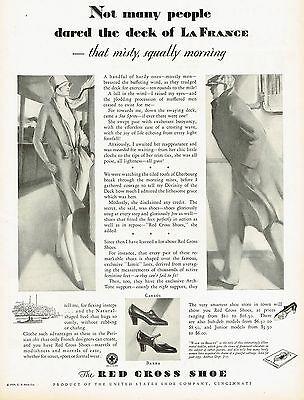 1920s BIG Vintage Red Cross Shoes Flapper Lady Man Fashion Art Print Ad