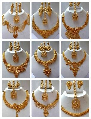 Indian Gold Jewelry - Indian 22K Gold Plated Wedding Necklace Earrings Jewelry Set Variations 8'' ,Set