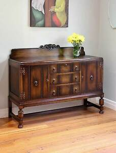 Antique Vintage Carved Oak Sideboard / Buffet / Wine Cabinet Williamstown Hobsons Bay Area Preview
