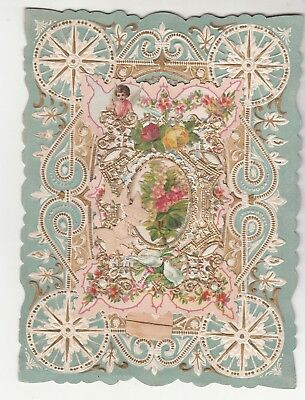 When First I Saw Thee Dearest One Verse Valentines Day Folding Vict Card C1880s