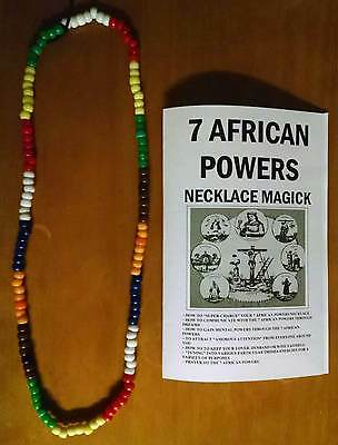 "7 AFRICAN POWERS necklace beads 7 color santeria OVER 30"" INCHES + FREE GIFT !!!"
