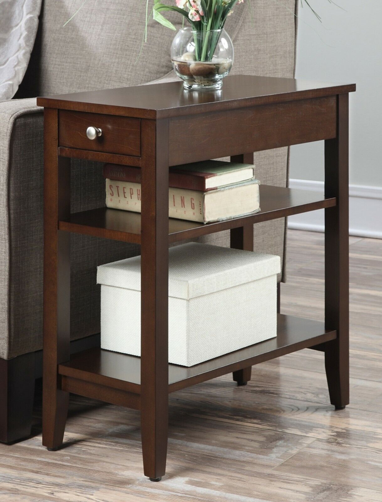 - Small End Table Narrow Side Storage Espresso Wooden Furniture