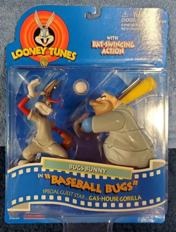 1997 Playmates Looney Tunes Bugs Bunny Baseball & Gashouse Gorilla Figures NIB
