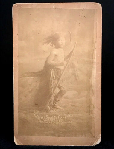 """RARE CABINET PHOTO - PINE RIDGE S.D. WOUNDED KNEE """"SON OF CHIEF TWO STRIKES""""1890"""