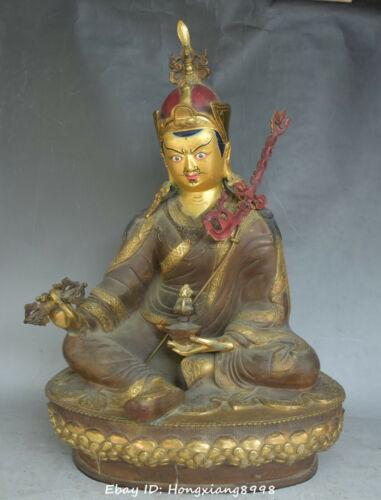 """17"""" China Buddhism Bronze Painting Guru Padmasambhava Rinpoche Buddha statue"""
