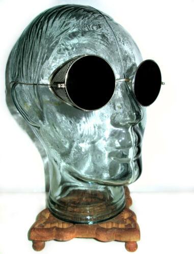 Antique Smoky Shield Sunglasses Goggles Retro Old Vtg Steampunk Safety Glasses