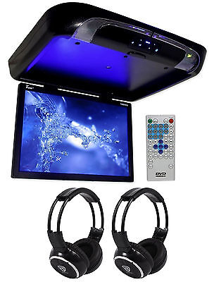 """TVIEW 20"""" Black Flip Down Car Monitor DVD/CD Player With 2 Wireless Headphones"""