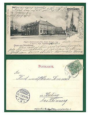 Alte AK Postkarte Deutschland   Hamburg Gruß von Wandsbeck 1902 mit Briefmarke