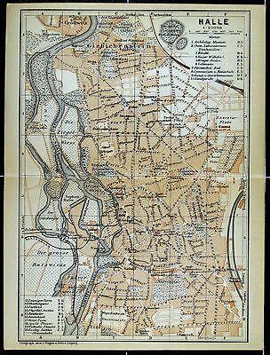 HALLE, alter Stadtplan, gedruckt ca. 1900