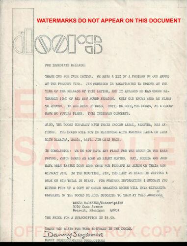 OFFICIAL 1971 PRESS RELEASE DOORS DANNY SUGARMAN ELEKTRA LETTERHEAD JIM MORRISON