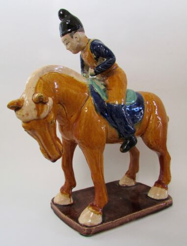 """VTG Asian Tang Dynasty Horse & Rider Decorative Figure Statue 12.5"""""""