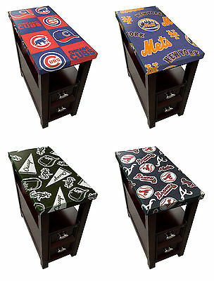 Wood End Table Nightstand w/ Drawer Espresso Finish MLB Team Fabric w/ Glass Top