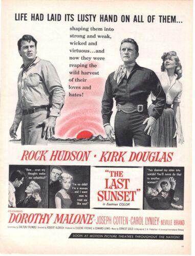 """1961 ORIG VINTAGE """"THE LAST SUNSET"""" MOVIE MAGAZINE AD ROCK HUDSON KIRK DOUGLAS"""