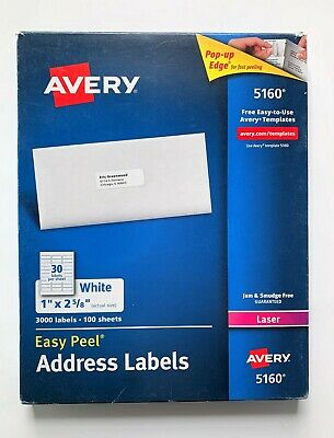 2 Pack Avery 5160 Easy Peel Address Labels 3000 Count Ea 1 X 2-58 Inch Damage