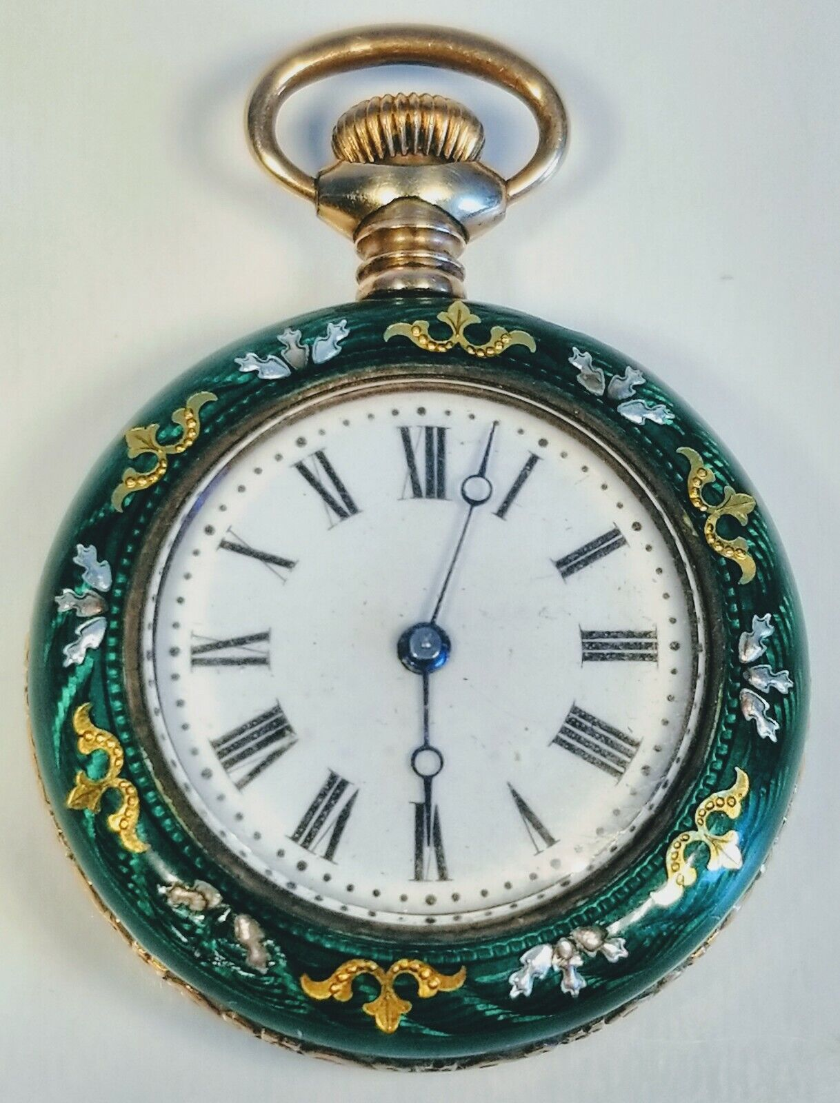 Vintage 1920s Art Deco 14K Yellow Gold Guilloché Green Enamel Round Pocket Watch