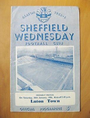 SHEFFIELD WEDNESDAY v LUTON TOWN Friendly 1955/1956 Good Cond Football Programme