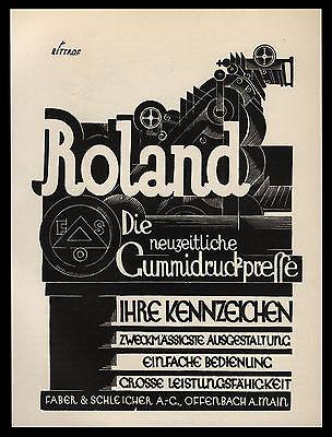 Grosse Werbung 1937 Entwurf Max Bittrof für Faber & Schleicher Gummidruckpresse