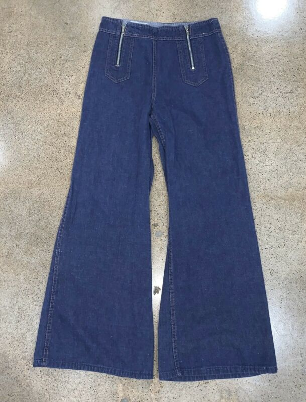 Vtg 60s 70s Hippy Disco Big Bellbottom Zip Flare 11 12 Jeans Pant 28 High Waist