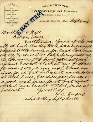 1886 W Eustice LETTERHEAD Henrietta CLAY COUNTY Texas ATTORNEY Indian Wars KIOWA