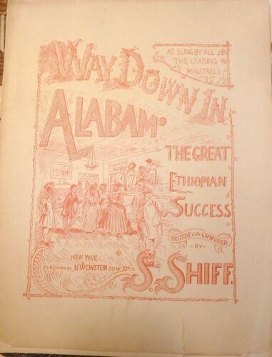 Way Down in Alabam Vintage Sheet Music Black Americana