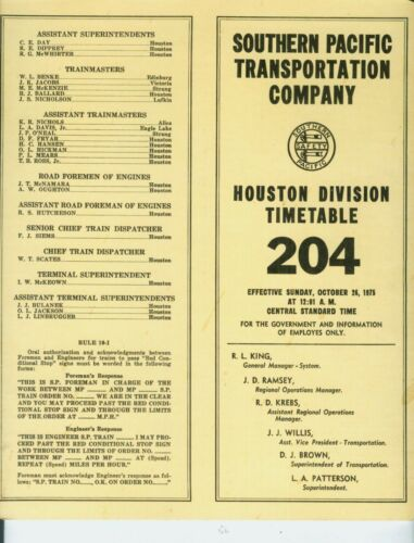 SOUTHERN PACIFIC RAILWAY ETT TIMETABLE  HOUSTON DIVISION #204  10-25-1975.