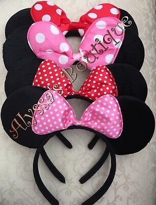Pink And White Minnie Mouse (*4* Minnie Mouse Ears Headband Plush Pink Red Small And Big White Polka Dots)