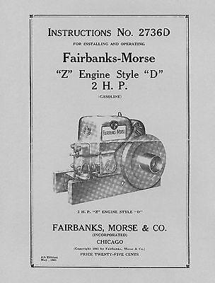 Fairbanks Morse 2 HP Style  D  Instructions No. 2736D