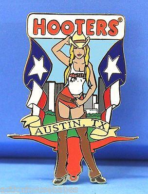 HOOTERS SEXY COWGIRL GIRL CHAPS FLAG BULL HEAD CITY AUSTIN TX TEXAS LAPEL PIN