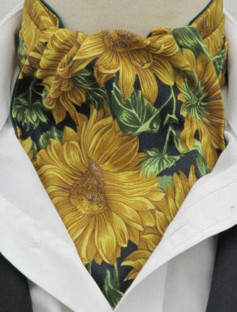 Ascot Cravat - Vibrant Sunflower Design with Handkerchief Cotton - Made in UK