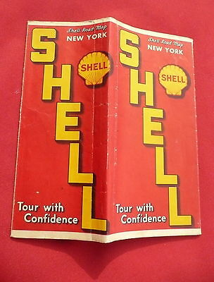 1938 New York road  map shell gas oil Long Island