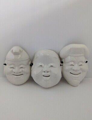 Vintage PIER ONE Japanese Ceramic NOH MASK Wall Hanging Set of 3 Daikoku OtaFuku